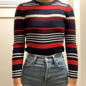 Red white and blue striped halogen sweater